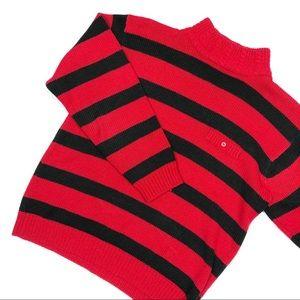 Vintage Red & Black Striped Mockneck Sweater 90s